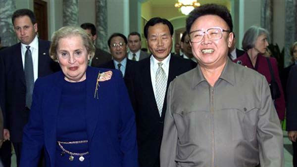 FILE - In this Oct. 23, 2000 file photo, North Korean Leader Kim Jong Il, right, and U.S. Secretary of State Madeleine Albright, left, walk towards a conference room at the Pae Kha Hawon Guest House in Pyongyang, North Korea. North Korean television announced Monday, Dec. 19, 2011 in a &#34;special broadcast&#34; that its leader Kim Jong Il has died in Pyongyang. &#40;AP Photo&#47;David Guttenfelder, Pool. File&#41; <span class=meta>(AP Photo&#47; David Guttenfelder)</span>