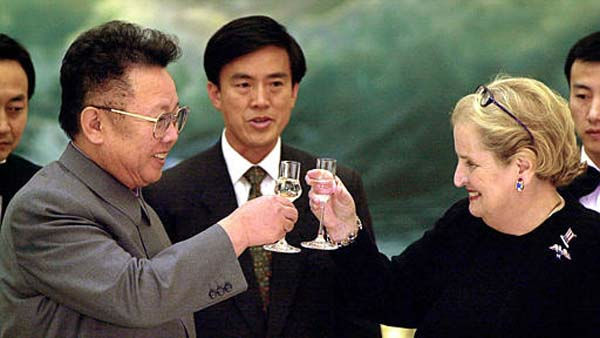 Then Secretary of State Madeleine Albright, right,  toasts North Korean leader Kim Jong Il  at a dinner in Pyongyang in this Oct. 24, 2000 photo.  In her groundbreaking visit Albright talked of ending the &#34;bitterness of the past&#34; and there were hopes the tensions that had existed between the United States and the communist nation were at an end.  A scant 15 months later President Bush labeled North Korea a member of the &#34;Axis of Evil&#34; and once again tensions between the two nations is nearing a crisis point.  Others seen in photo are unidentified. &#40;AP Photo&#47;Chien-min Chung, Pool,&#41; <span class=meta>(AP Photo&#47; CHIEN-MIN CHUNG)</span>