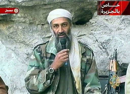 "<div class=""meta image-caption""><div class=""origin-logo origin-image ""><span></span></div><span class=""caption-text"">FILE - In this Oct. 7, 2011 file photo, Osama bin Laden is seen at an undisclosed location in this television image broadcast. A person familiar with developments said Sunday, May 1, 2011 that bin Laden is dead and the U.S. has the body. (AP Photo/Al Jazeera) (AP Photo/ XCO AD PDS MJS PDS JM JF TH DG**)</span></div>"