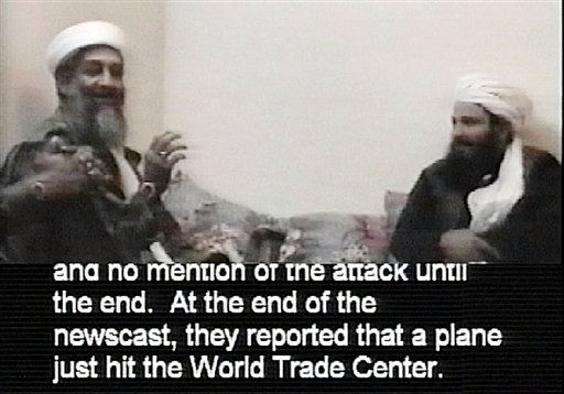 FILE - This file frame grab from a videotape released and translated by the U.S. Department of Defense Dec. 13, 2001, in Washington, shows Al-Qaida leader Osama bin Laden. The man at right is unidentified. A person familiar with developments on Sunday, May 1, 2011 says bin Laden is dead and the U.S. has the body. &#40;AP Photo&#47;Department of Defense, File&#41; <span class=meta>(AP Photo&#47; Anonymous)</span>
