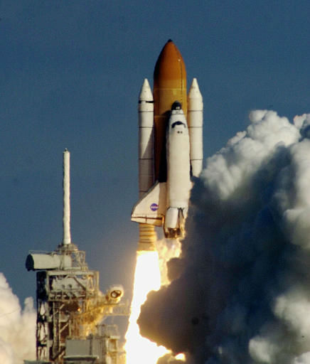 The space shuttle Columbia clears the pad on way to orbit after liftoff at the Kennedy Space Center in Cape Canaveral, Fla. in this Thursday Jan. 16, 2003 photo. Shortly after Columbia lifted off, a piece of insulating foam on its external fuel tank came off and was believed to have hit the left wing of the shuttle. Leroy Cain, the lead flight director in Mission Control, assured reporters Friday, Jan. 31, 2003, that engineers had concluded that any damage to the wing was considered minor and posed no safety hazard. &#40;AP Photo&#47;Luis Alvarez&#41; <span class=meta>(AP Photo&#47; LUIS ALVAREZ)</span>