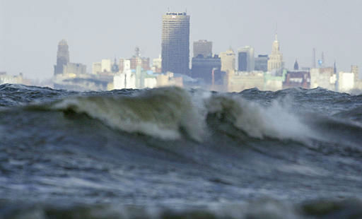 The City of Buffalo is seen from the shore of Lake Erie under bitter cold windy conditions Tuesday, Jan. 6, 2004.  <span class=meta>(AP Photo&#47; DAVID DUPREY)</span>