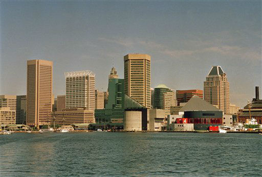 "<div class=""meta image-caption""><div class=""origin-logo origin-image ""><span></span></div><span class=""caption-text"">The Baltimore skyline and Inner Harbor are seen in this June 28, 1993 photo. (AP Photo/ Carlos Osario)</span></div>"