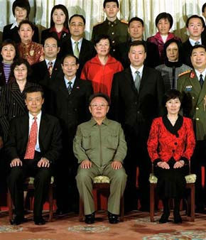 In this photo released by Korean Central News Agency via Korea News Service, North Korean leader Kim Jong Il, center front, poses with staff of Chinese Embassy in Pyongyang, North Korea, Sunday, March 4, 2007. Kim Jong Il visited the embassy, an indication of the North&#39;s efforts to mend ties with its main ally that frayed over Pyongyang&#39;s missile launches and nuclear test last year. &#40;AP Photo&#47;Korean Central News Agency&#41; ** SOUTH KOREA OUT ** <span class=meta>(AP Photo&#47;  TT**TOK**)</span>
