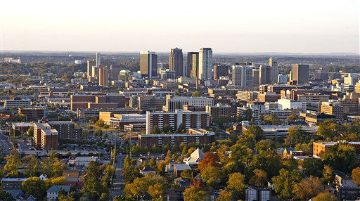FILE - This October 2006 photo provided by the Birmingham Regional Chamber of Commerce shows the skyline of Birmingham, Ala. Leaders of Alabama&#39;s most populous county  voted on Wednesday, Nov. 9, 2011 to file an estimated &#36;4.1 billion bankruptcy, the largest municipal bankruptcy in U.S. history. &#40;AP Photo&#47;Birmingham Regional Chamber of Commerce, Dennis Lathem, File&#41; <span class=meta>(AP Photo&#47; Dennis Lathem)</span>