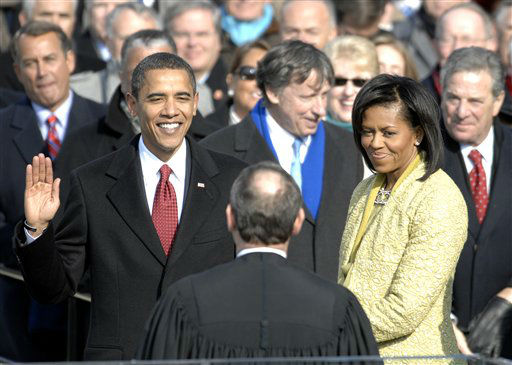 "<div class=""meta ""><span class=""caption-text "">In this handout photo provided by the Department of Defense, Barack Obama is sworn in as the 44th president of the United States by Chief Justice of the United States John G. Roberts Jr. in Washington, D.C., Jan. 20, 2009.  More than 5,000 men and women in uniform are providing military ceremonial support to the presidential inauguration, a tradition dating back to George Washington's 1789 inauguration.   (Photo/MSgt Cecilio Ricardo)</span></div>"