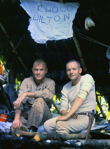 This photo, supplied by NASA, shows astronauts  John Glenn, left, and Neil Armstrong in Panama as they underwent survival training in Panama in 1963. Elmore County resident Morgan Smith and his native friends taught the two how to capture snakes, lizards, rats, and use vegetation and whatever else they could find to provide nutrition. <span class=meta>(AP Photo&#47; Anonymous)</span>