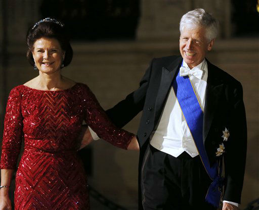 Prince Nicolaus and Princess Margaretha of Liechtenstein arrive for dinner at the Royal Palace on occasion of the wedding of Luxembourg&#39;s Prince Guillaume and Countess Stephanie  in Luxembourg, Friday, Oct. 19, 2012. &#40;AP Photo&#47;Michael Probst&#41; <span class=meta>(AP Photo&#47; Michael Probst)</span>