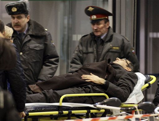 A man wounded in a blast is evacuated from Domodedovo airport in Moscow, Monday, Jan. 24, 2011. An explosion ripped through the international arrivals hall at Moscow&#39;s busiest airport on Monday, killing dozens of people and wounding scores, officials said. The Russian president called it a terror attack. &#40;AP Photo&#47;Ivan Sekretarev&#41; <span class=meta>(AP Photo&#47; Ivan Sekretarev)</span>