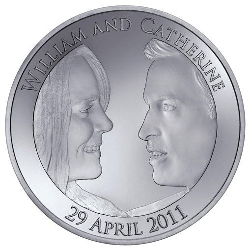 This is an image released Thursday March 3, 2011 by the Royal Mint of the official 5 pound coin commemorating  Britain&#39;s Prince William and Kate Middleton&#39;s wedding. The couple have approved the designs, which show the pair in profile facing each other, as has the Queen, whose image appears on the reverse.  The coin is only the second produced by the Royal Mint to mark a royal wedding - the first was a 20 pence item made for the nuptials of the Prince and Princess of Wales in 1981.  &#40;AP Photo &#47;   Royal Mint,  ho&#41; NO SALES <span class=meta>(AP Photo&#47; Anonymous)</span>