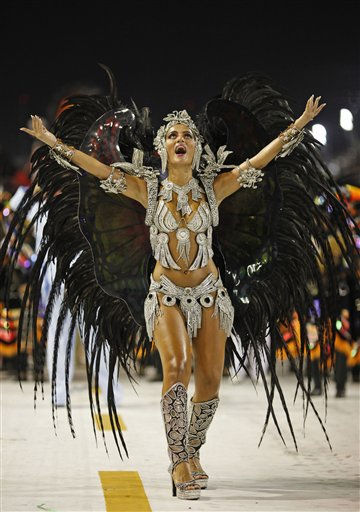 Bruna Bruno, queen of the drums&#39; section of Uniao da Ilha samba school, performs while parading during carnival celebrations at the Sambadrome in Rio de Janeiro, Brazil, Monday, March 7, 2011. &#40;AP Photo&#47;Felipe Dana&#41; <span class=meta>(AP Photo&#47; Felipe Dana)</span>