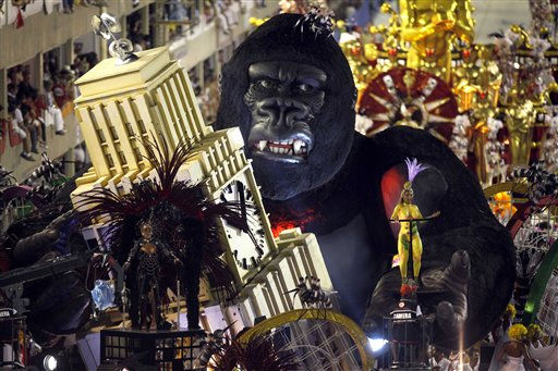 Members of Salgueiro samba school parade on a float during carnival celebrations at the Sambadrome in Rio de Janeiro, Brazil, Tuesday, March 8, 2011. &#40;AP Photo&#47;Rodrigo Abd&#41; <span class=meta>(AP Photo&#47; Rodrigo Abd)</span>