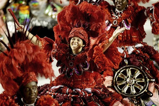A member of Salgueiro samba school performs at the Sambadrome in Rio de Janeiro, Brazil, Tuesday March 8, 2011. &#40;AP Photo&#47;Rodrigo Abd&#41; <span class=meta>(AP Photo&#47; Rodrigo Abd)</span>