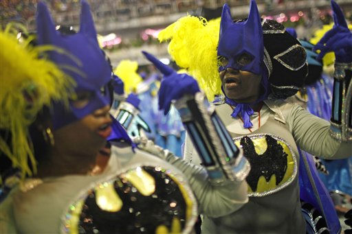Salgueiro samba school dancers perform while parading through the Sambadrome during carnival celebrations in Rio de Janeiro, Brazil, Tuesday March 8, 2011. &#40;AP Photo&#47;Felipe Dana&#41; <span class=meta>(AP Photo&#47; Felipe Dana)</span>
