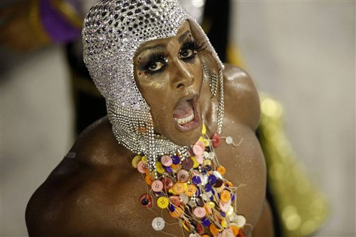A member of the Salgueiro samba school parades during carnival celebrations at the Sambadrome in Rio de Janeiro, Brazil, Tuesday March 8, 2011. &#40;AP Photo&#47;Rodrigo Abd&#41; <span class=meta>(AP Photo&#47; Rodrigo Abd)</span>