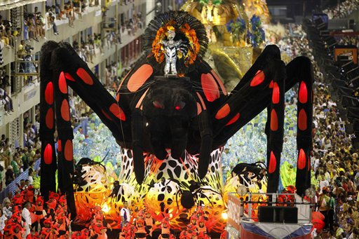 A float from the Uniao da Ilha samba school parades through the Sambadrome during carnival celebrations in Rio de Janeiro, Brazil, Monday March 7, 2011. &#40;AP Photo&#47;Rodrigo Abd&#41; <span class=meta>(AP Photo&#47; Rodrigo Abd)</span>