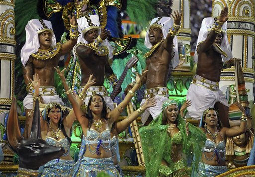 Dancers of Mocidade Independente samba school perform while parading during carnival celebrations at the Sambadrome in Rio de Janeiro, Brazil, Tuesday, March 8, 2011. &#40;AP Photo&#47;Felipe Dana&#41; <span class=meta>(AP Photo&#47; Silvia Izquierdo)</span>