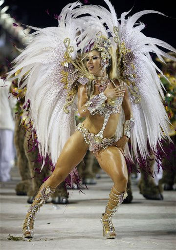 A Mocidade Independente samba school dancer performs while parading during carnival celebrations at the Sambadrome in Rio de Janeiro, Brazil, Tuesday, March 8, 2011. &#40;AP Photo&#47;Felipe Dana&#41; <span class=meta>(AP Photo&#47; Felipe Dana)</span>