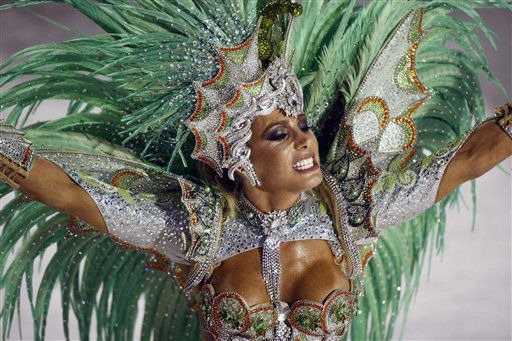 A member of the Salgueiro samba school performs at the Sambadrome during carnival celebrations in Rio de Janeiro, Brazil, Tuesday March 8, 2011. &#40;AP Photo&#47;Rodrigo Abd&#41; <span class=meta>(AP Photo&#47; Rodrigo Abd)</span>