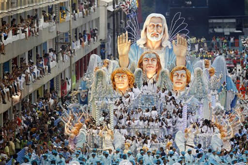A float from the Beija Flor samba school parades through the Sambadrome during carnival celebrations in Rio de Janeiro, Brazil, early Tuesday March 8, 2011. &#40;AP Photo&#47;Felipe Dana&#41; <span class=meta>(AP Photo&#47; Felipe Dana)</span>