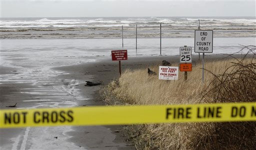 Waves common for a stormy springtime day crash into the beach Friday, March 11, 2011 in Moclips, Wash.  A Tsunami caused by Thursday&#39;s earthquake in Japan reached the west coast of the United States early Friday, though its impact was minimal. &#40;AP Photo&#47;Ted S. Warren&#41; <span class=meta>(AP Photo&#47; Ted S. Warren)</span>