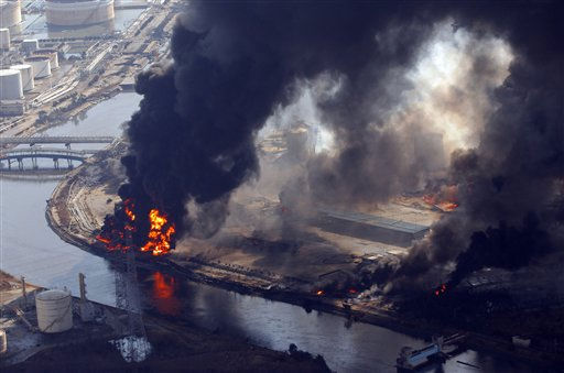 "<div class=""meta ""><span class=""caption-text "">Flames engulf buildings in an industrial complex in Sendai, northern Japan, Saturday, March 12, 2011. Japan launched a massive military rescue operation Saturday after a giant, quake-fed tsunami killed hundreds of people and turned the northeastern coast into a swampy wasteland, while authorities braced for a possible meltdown at a nuclear reactor. (AP Photo/Itsuo Inouye) (AP Photo/ Itsuo Inouye)</span></div>"