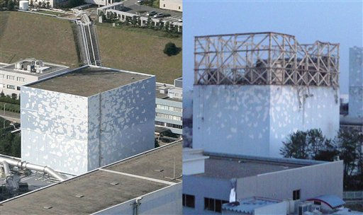 In this combination of photos, the No. 1 reactor of the Fukushima Daiichi Nuclear Power Plant, is seen before, left, and after an explosion that blew out the walls of the unit, in Okumamachi, Fukushima Prefecture in Japan.  The photo at left was taken Oct. 3, 2008, and the photo at right was released by the Tokyo Power Electric Co. March 12, 2011, following the explosion.  Some 170,000 people have been ordered to evacuate the area around the plant in Fukushima as authorities frantically tried to prevent a meltdown following a catastrophic earthquake and tsunami. &#40;AP Photo&#47;Kyodo News and Tokyo Power Electric Co.&#41;  MANDATORY CREDIT, NO LICENSING ALLOWED IN CHINA, HONG  KONG, JAPAN, SOUTH KOREA AND FRANCE <span class=meta>(AP Photo&#47; Anonymous)</span>