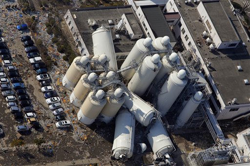 Factory facilities look damaged in an industrial complex in Sendai, northern Japan, Saturday, March 12, 2011. Japan launched a massive military rescue operation Saturday after a giant, quake-fed tsunami killed hundreds of people and turned the northeastern coast into a swampy wasteland, while authorities braced for a possible meltdown at a nuclear reactor. &#40;AP Photo&#47;Itsuo Inouye&#41; <span class=meta>(AP Photo&#47; Itsuo Inouye)</span>