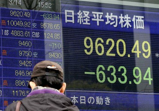 "<div class=""meta ""><span class=""caption-text "">A man looks at a stock price board in Tokyo Monday, March 14, 2011 as the Tokyo stock market plunged on its first business day after an earthquake and tsunami of epic proportions laid waste to cities along Japan's northeast coast. The benchmark Nikkei 225 stock average slid 633.94 points, or 6.2 percent, to 9,620.49, extending losses from Friday. (AP Photo/Eugene Hoshiko) (AP Photo/ Eugene Hoshiko)</span></div>"