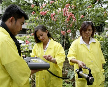 Filipino scientists at the Philippine Nuclear Research Institute use a SAM  portable Gamma Spectrometer to measure the gamma radiation levels in the atmosphere at their facility in suburban Quezon city northeast of Manila, Philippines, Monday, March 14, 2011. The Government increased the frequency of monitoring radiation levels to four times daily starting Monday from the routine once-a-week following the threat of multiple nuclear reactor meltdowns at the quake and tsunami-savaged northeastern coast of Japan where fears spread over possible radioactive contamination. &#40;AP Photo&#47;Bullit Marquez&#41; <span class=meta>(AP Photo&#47; Bullit Marquez)</span>