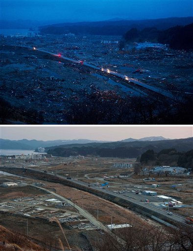 In this combination photo, Japanese vehicles pass through the ruins of the leveled city of Minamisanriku, Japan, on March 15, 2011, top, four days after the tsunami, and vehicles pass through the same area on Thursday, Feb. 23, 2012. A year after the earthquake and tsunami killed around 19,000 people across Japan and leveled this town, there are hints of progress _ the main roads are free of debris, and some temporary houses have been built. But many in Minamisanriku, and elsewhere across Japan&#39;s battered coastline, remain in a hellish state of limbo. &#40;AP Photo&#47;David Guttenfelder&#41; <span class=meta>(AP Photo&#47; David Guttenfelder)</span>