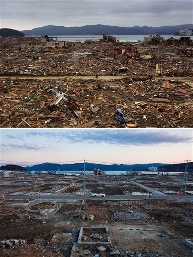 In this combination photo, a Japanese survivor of the earthquake and tsunami rides his bicycle through the leveled city of Minamisanriku, Japan, on March 15, 2011, top, and a car drives through the same spot on Thursday, Feb. 23, 2012. It has been one year since a huge earthquake and tsunami smashed Japan&#39;s coastline, killed around 19,000 people, and left more than half of Minamisanriku&#39;s residents dead or homeless. But while the streets are free of rubble, rebuilding has barely begun _ leaving those who remain anxious about what the future holds. &#40;AP Photo&#47;David Guttenfelder&#41; <span class=meta>(AP Photo&#47; David Guttenfelder)</span>