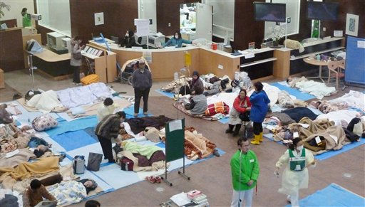 In this March 15, 2011 photo, elderly people with dementia and bedridden people lie at the lobby of Red Cross hospital in Ishinomaki, northern Japan. &#40;AP Photo&#47;Kyodo News&#41;  JAPAN OUT, MANDATORY CREDIT, NO LICENSING IN CHINA, HONG KONG, JAPAN, SOUTH KOREA AND FRANCE <span class=meta>(AP Photo&#47; Anonymous)</span>