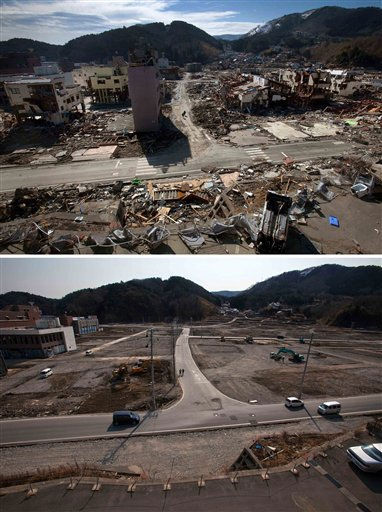 In this combination photo, two people walk along a street in a residential neighborhood in Onagawa,  northeastern Japan, on March 19, 2011, top, eight days after the March 11 tsunami, and two people walk on the same spot on Wed., Feb. 22, 2012. A year after the disaster that killed around 19,000 people, much of the debris that littered the streets of this fishing town has been cleared. But the task of rebuilding homes and lives has barely begun. &#40;AP Photo&#47;David Guttenfelder&#41; <span class=meta>(AP Photo&#47; David Guttenfelder)</span>