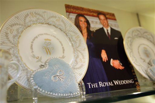 "<div class=""meta image-caption""><div class=""origin-logo origin-image ""><span></span></div><span class=""caption-text"">Items from the official Royal wedding commemorative china range are displayed at the Queen?s Gallery shop in London Tuesday March 22, 2011. The special Commemorative China includes plates, tea cups, tea towels, books and decorative wedding invitations, and celebrates the forthcoming wedding of Prince William and Kate Middleton. The couple are scheduled to wed on Friday April 29, 2011.(AP Photo/Dan Kitwood, pool) (AP Photo/ Dan Kitwood)</span></div>"