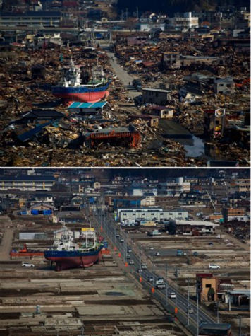 In this combination photo, a ship washed away by the tsunami sits in a destroyed residential neighborhood in Kesennuma, northeastern Japan, on March 28, 2011, top, and the same ship sits on the same spot on Thursday, Feb. 23, 2012. A year after an earthquake and tsunami ravaged the country&#39;s coastline and killed around 19,000 people, many of the boats carried inland by the wall of water have been removed. But some, like this one, remain _ providing a stark reminder of nature&#39;s fearsome power. &#40;AP Photo&#47;David Guttenfelder&#41; <span class=meta>(AP Photo&#47; David Guttenfelder)</span>