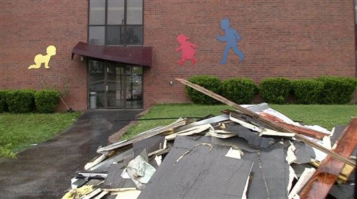 In this image taken from video, debris lies outside the storm-damaged Ferguson Christian Church in Ferguson, Mo. Sunday, April 24, 2011, which was hit during Friday&#39;s tornado. Easter services were moved to St. Louis Christian College in Florissant, Mo. due to the damage. &#40;AP Photo&#47;George Wise&#41; <span class=meta>(AP Photo&#47; George Wise)</span>