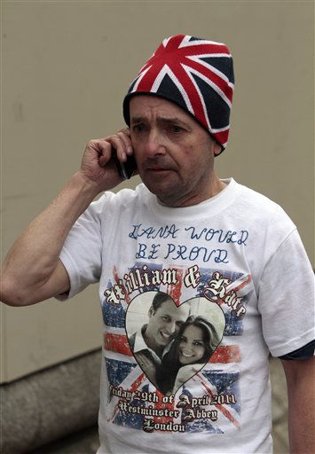 "<div class=""meta image-caption""><div class=""origin-logo origin-image ""><span></span></div><span class=""caption-text"">English  royal fan John Loughray, uses his mobile phone from the spot where he is camping across from the Westminster Abbey in central London, Tuesday, April 26, 2011. Loughray had camped in the spot to make sure he gets the best view for the royal wedding between Britain's Prince William and Kate Middleton on Friday, April 29, 2011. (AP Photo/Lefteris Pitarakis) (AP Photo/ Lefteris Pitarakis)</span></div>"