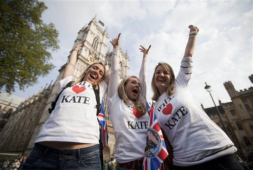 Royal fans cheer in front of Westminster Abbey in London, Tuesday, April 26, 2011. Revelers are camping out outside the Abbey where Prince William and Kate Middleton are due to get married on Friday, April 29. &#40;AP Photo&#47;Gero Breloer&#41; <span class=meta>(AP Photo&#47; Gero Breloer)</span>
