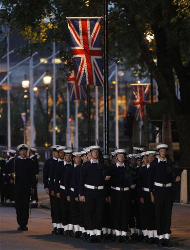 Members of the British Royal Navy march towards Westminster Abbey as they take part in  an overnight dress rehearsal for the Royal Wedding of Britain&#39;s Prince William and Kate Middleton, in central London, Wednesday, April, 27, 2011. Prince William is to marry Kate Middleton at Westminster Abbey in London, on Friday, April 29. &#40;AP Photo&#47;Alastair Grant&#41; <span class=meta>(AP Photo&#47; Alastair Grant)</span>