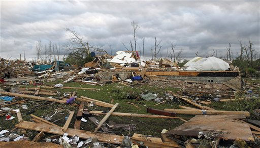 "<div class=""meta ""><span class=""caption-text "">Debris is strewn from Wednesday's tornado that hit Pleasant Grove, just west of downtown Birmingham, Ala., on Thursday, April 28, 2011. (AP Photo/Butch Dill) (AP Photo/ Butch Dill)</span></div>"