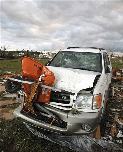 A vehicle sits damaged after a tornado hit Pleasant Grove just west of downtown Birmingham a day earlier, on Thursday, April 28, 2011, in Birmingham, Ala. &#40;AP Photo&#47;Butch Dill&#41; <span class=meta>(AP Photo&#47; Butch Dill)</span>
