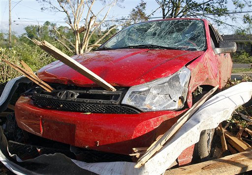 "<div class=""meta ""><span class=""caption-text "">A car sits damaged after a tornado the day before hit Pleasant Grove, just west of downtown Birmingham, Ala., Thursday, April 28, 2011. (AP Photo/Butch Dill) (AP Photo/ Butch Dill)</span></div>"