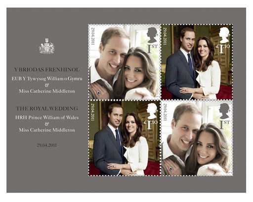 This handout image provided by the US Postal Service shows The Royal Wedding Presentation Pack being sold by the Postal Service. Britain&#39;s Royal Mail issued a special commemorative stamp for the wedding and American postal authorities are offering it as part of a wedding commemorative packet. &#40;AP Photo&#47;USPS&#41; <span class=meta>(AP Photo&#47; Anonymous)</span>