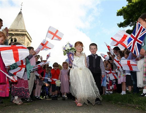 School Children, stage their version of the royal wedding at Kirby Hill church ahead of the wedding between William and Kate tommorrow, Kirby Hill, England, Thursday, April. 28, 2011