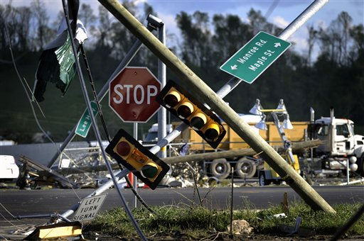 Downed traffic lights near I-81 following a tornado Thursday, April 28, 2011 in Glade Spring, Va. Several homes and trucks stops along I-81 were severly damaged. &#40;AP Photo&#47;Jeff Gentner&#41; <span class=meta>(AP Photo&#47; Jeff Gentner)</span>
