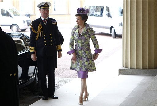 "<div class=""meta ""><span class=""caption-text "">Britain's Princess Anne, right, arrives at Buckingham Palace after the wedding ceremony of Britain's Prince William and Catherine, Duchess of Cambridge, in central London April 29, 2011. (AP Photo/ANDREW WINNING, Pool) (Photo/ANDREW WINNING)</span></div>"