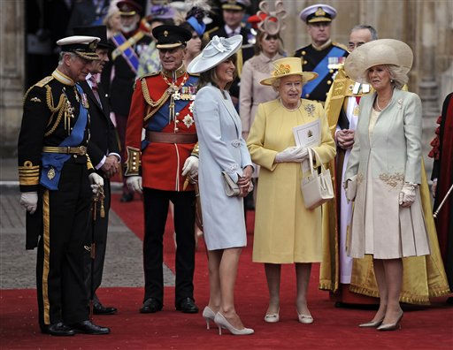 Oh, good, you?ve all remembered to wear your hats. Prince Charles, Prince Philip, Carole Middleton, Queen Elizabeth II and Camilla, Duchess of Cornwall, stand outside of Westminster Abbey in their head-topping finery after the royal wedding. &#40;AP Photo&#47;Martin Meissner&#41; <span class=meta>(AP Photo&#47; Martin Meissner)</span>