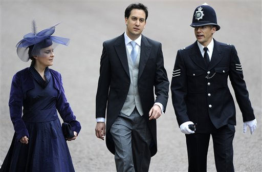 Britain&#39;s Labour Party leader Ed Miliband, center, arrives with his partner Justine Thornton along The Mall before the wedding of Prince William and Kate Middleton in Westminster Abbey, in central London April 29, 2011.  &#40;AP Photo&#47;PAUL HACKETT, Pool&#41; <span class=meta>(Photo&#47;PAUL HACKETT)</span>