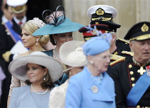 Netherlands&#39; Princess Maxima, left, leaves Westminster Abbey after the wedding service at the Royal Wedding in London Friday, April 29, 2011. &#40;AP Photo&#47;Martin Meissner&#41; <span class=meta>(AP Photo&#47; Martin Meissner)</span>